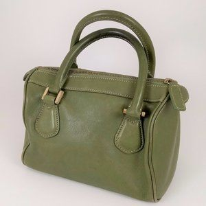 90s J. Crew Avocado Green Leather Satchel Purse